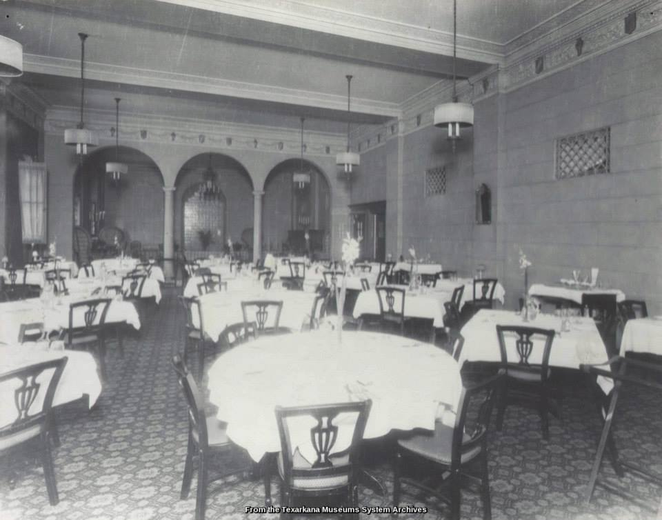 Black and white image of Hotel Grim dining area